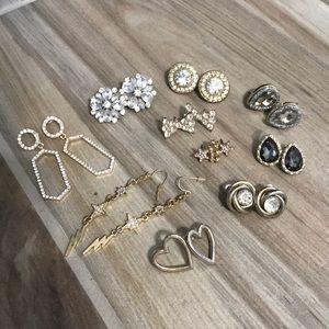 Gold Earrings Large Diamond Studs / Dangles